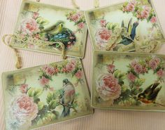4 Shabby ORNAMENTS Birds Romantic Tree Hang Tags Gifts Rose Chic Art Floral Gift