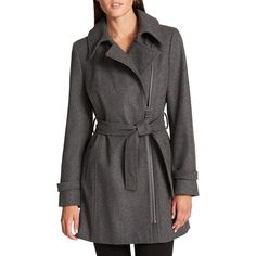 Donna Karan Women's Asymmetrical Zip Coat ($360) ❤ liked on Polyvore featuring outerwear, coats, grey, faux coat, long sleeve coat, belted coat, asymmetrical zipper coat and grey coat