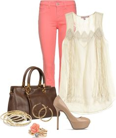 """Coral Jeans and Macrame Top"" by high-uintas on Polyvore"