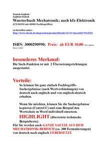 alleinstellungsmerkmale + kundennutzen + vorteile Mechatronik- woerterbuch technisches englisch