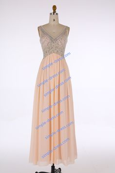 Buy Best-selling V-neck Evening/Prom/Homecoming Dress - Floor Length Champagne Chiffon Beading Special Occasion Dresses under US$ 172.99 only in SimpleDress.