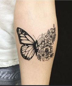 Pretty butterfly with flowers