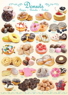 Enjoy a delicious assortment of donuts without the calories! Recipe included on the back of the box. Donut Flavors, Donut Recipes, Cake Recipes, Dessert Recipes, Fancy Donuts, Cute Donuts, Delicious Donuts, Yummy Food, Donut Chart