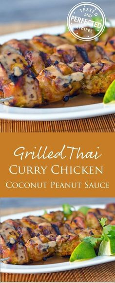 Grilled Thai Curry Chicken Skewers with Coconut-Peanut Sauce #chickenskewers