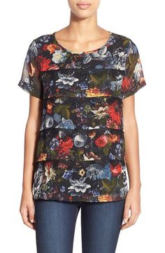 Pleione Tiered Lace Trim Top available at #Nordstrom