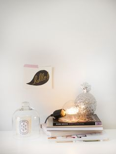 A vintage bulb just resting on the top of a bookcase - this could work for the dining room instead of a lamp (particularly as low height required) Exterior Design, Interior And Exterior, Light Installation, Home Decor Inspiration, Bulb, House Design, Ceiling Lights, Lighting, Interiors