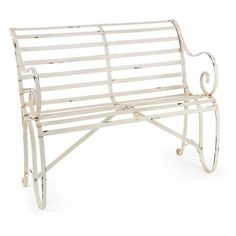 Outdoor Napa Home And Garden 55 In. Metal Slatted Garden Bench In  Distressed White