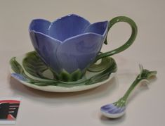 Image detail for -Franz Porcelain Collection FZ00797 Periwinkle Flower Cup Saucer Spoon ...
