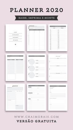 Planner 2020 para baixar Planner completo para baixar, imprimir e montar na sua casa! Family Planner, Study Planner, Goals Planner, Blog Planner, Weekly Planner, Planner Diy, Student Planner Printable, Planer Layout, Bullet Journal Ideas Pages
