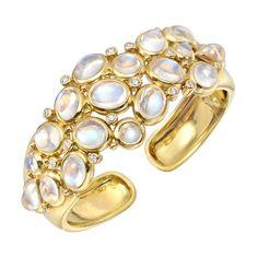 """Temple St. Clair Moonstone & Diamond """"Bubble"""" Cuff Bracelet"""