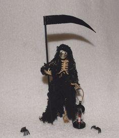 Halloween Miniature Skeleton-Grim Reaper w/Lantern & Sickle-OOAK-Artist