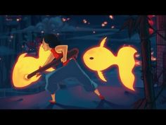 Night Light - Animated Short Film by Qinni Qinni, Short Film Youtube, No Man's Sky, Gifs, Painting Process, Animation Film, Night Light, Disney Characters, Fictional Characters