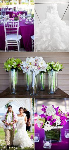 Gorgeous Hawaiian wedding! I love the centerpieces