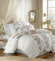 Victorian Bedroom; beautiful! I love the floral accents on the bedspread. Whimsy.