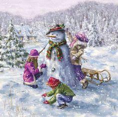 Marcello Corti - snowman and kids Christmas Scenes, Christmas Past, Felt Christmas, Christmas Carol, Christmas Snowman, Vintage Christmas, Snowman Cards, Cute Snowman, Illustration Noel