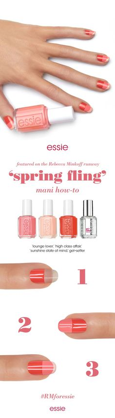 "Create the perfect spring fling mani inspired by the modern music girl. Celebrity manicurist Michelle Saunders created a warm, coral ""tone-on-tone"" mani using vibrant, fun shades from the essie Spring 2016 Collection that walked the Rebecca Minkoff NYFW runway. #RMforessie"