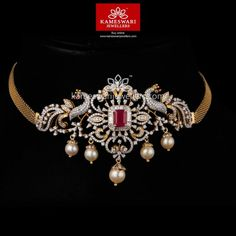 diamond choker necklaces which look fabulous! Choker Necklace Online, Diamond Choker Necklace, Choker Necklaces, Pendant Necklace, Gold Mangalsutra Designs, Necklace Designs, Chokers, Jewels, Peacock