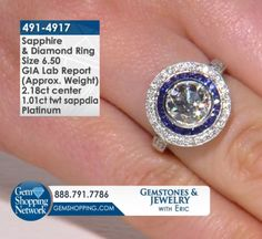Estate White Diamond Round Brilliant with Blue Sapphire Halo & White Diamond Halo set in Platinum. Find the perfect engagement ring or just make a statement with exquisite rings, bracelets, necklaces, earrings, and more. Tune in to Gem Shopping Network to see more spectacular gemstones and jewelry 24/7. Item #491-4917Estate 2.18 ct I Diamond Round Brilliant Si1 & 1.01 ctw Sapphire & Diamond Round & Square Platinum Ring GIA Lab Report Approx.Wt. Size 6.5