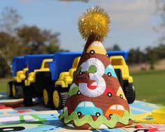 Cars and transportation burthday theme   https://www.etsy.com/listing/212241562/cars-fabric-birthday-hat-transportation