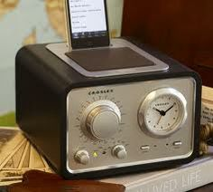 iDuet Alarm Clock Radio from Pottery Barn - a little vintage a little modern. Wish they made this for the Samsung Galaxy III : Crosley Record Player, Camping Nursery, Retro Alarm Clock, Ipod Dock, Modern Outdoor Furniture, Gifts For Husband, Pottery Barn, Decorative Accessories, Home Furnishings