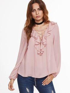 Shop Pink Ruffle Trim Lace Up V Neck Blouse online. SheIn offers Pink Ruffle Trim Lace Up V Neck Blouse & more to fit your fashionable needs.
