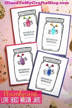 Thumbprint Love Bug Mason Jar Cards - Valentine's Day Kid Craft Idea Thumbprint Love Bug Mason Jar Cards – Valentine's Day Kid Craft Idea – Handmade Classroom Val Valentine's Day Crafts For Kids, Valentine Crafts For Kids, Valentines Day Party, Kids Diy, Holiday Crafts, Mason Jar Cards, Mason Jars, Valentine's Cards For Kids, Valentine Activities