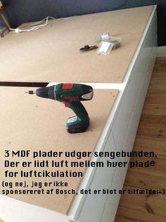 """Seng af Ikea MALM kommoder+ mdf plader... NB på """"ledningshul"""""""
