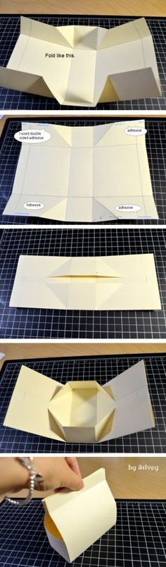 Clever, simple DIY folded box. No cutting. Favor bag.