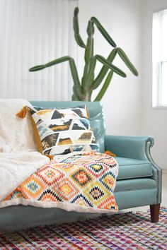 Serape Knit and faux fur blanket by April Rhodes