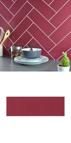 A Mauve gloss finish rectangular/brick-shape wall tile. Red Tiles, Brick Tiles, Brick Wall, Wall Tiles, Kitchen Walls, Splashback, Herringbone Pattern, Floor Space, Mauve