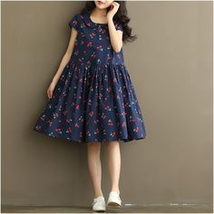 Women Dress Mori Girl Short Sleeve Cherry Print A Line Dress Blue White Color High Waist Peter Pan Collar Cotton Summer Dress Style Preppy, Grunge Style, Frock Fashion, Women's Fashion Dresses, Girl Fashion, Fashion Women, Vestidos Vintage, Vintage Dresses, Spring Dresses Casual