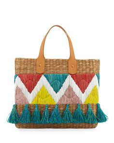 e2d0e9b44abb8 Franchi Collection Mali Garden Tassel Straw Tote Bag