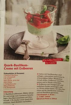 Quark-Basilikum Creme mit Erdbeeren