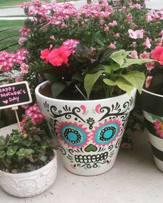 Sugar Skull Flower Pot Hand Painted