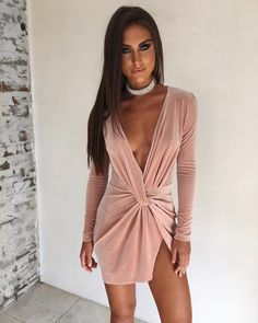 Evaqueen 2018 Winered Deep V Neck Summer Dress Long Sleeve Cross Bow Dresses Slim Sexy Mini Pencil Club Bodycon Bandage Dress Long Summer Dresses, Pink Mini Dresses, Bow Dresses, Dress With Bow, Dress Me Up, Vestidos Velvet, Long Sleeve Mini Dress, Dress Long, Long Jumpsuits