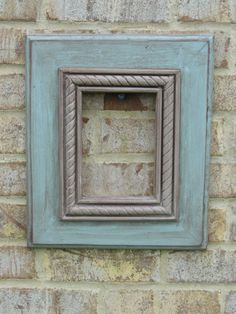 5x7 Turquoise and Grey wooden picture frame by BigEyedFishDesigns, $40.00