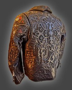 Leather Carving, Leather Art, Biker Leather, Leather Tooling, Vintage Leather, Handmade Leather, Leather Jewelry, Custom Leather Jackets, Revival Clothing