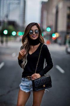 7 Ways To Enjoy Summer - Outfit Details: LNA Cutout Sweater Gucci Belt One Teaspoon Shorts Chanel Bag Illesteva Sunglasses Black Slides June 15th, 2017 by maria