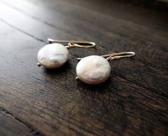 Freshwater Coin Pearl Earrings / Gold And Pearl by VerseJewelry, $32.00
