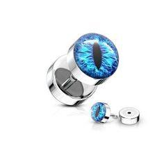 Fake Plug Auge aus Edelstahl - noch viele weitere Fakepiercings findest du im Onlineshop » seit 2003 online » schneller Versand » jetzt günstig kaufen  #fakeplugs #fakepiercing #ohrpiercing Fake Piercing, Piercings, Fake Plugs, Sapphire, Rings, Jewelry, Stainless Steel Earrings, Eyes, Blue