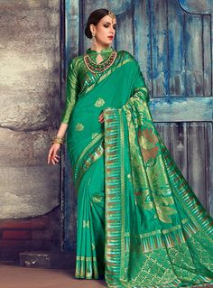 63dba7151b3f7 Buy Green Silk Saree With Blouse 144361 with blouse online at lowest price  from vast collection