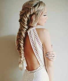 Stunning fishtail braid. Boho braided hairstyle. Bohemian Bride.