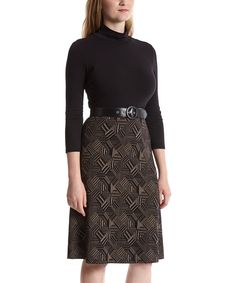 Loving this Sharagano Brown & Black Geometric Belted Fit & Flare Dress - Women on #zulily! #zulilyfinds