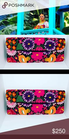"""Dalia Pascal Floral Embroidered Flap Clutch Gorgeous exclusive clutch by Dalia Pascal 