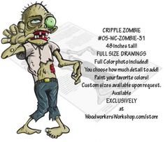 05-WC-ZOMBIE-31 - Cripple Zombie Yard Art Woodworking Pattern. Broken but still determined to get your brains!! This zombie project would look great in the yard, on the porch, in a store window or your favourite Halloween haunt! Choose to paint as little or as much detail as you want. Or experiment with the black silhouette to create your own scary characters! #diy #woodcraftpatterns