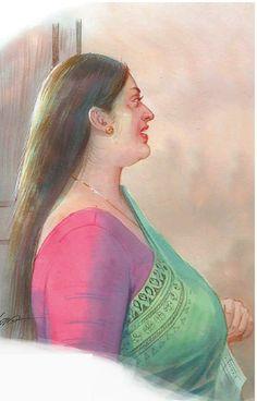 Sexy Painting, Black Art Painting, Woman Painting, Painting Prints, Ravivarma Paintings, Indian Art Paintings, Cartoon Girl Drawing, Girl Cartoon, 50 Most Beautiful Women