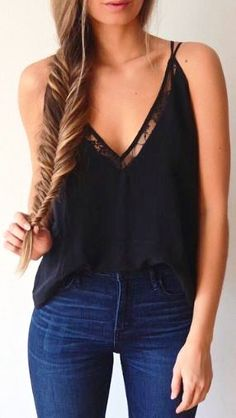 Denim, tank top and fishtail braid.
