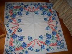 VintageTablecloth blue roses tulips cottage 50s chic by raggedy10, $18.50