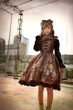 claranetzien Steampunk Lolita Neverland Lolita -Steampunk Cat- Lolita Normal Waist JSK