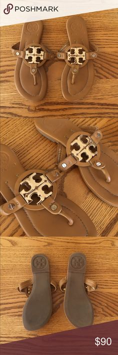 Tory Burch Logo Sandal Brown leather - kind of a rich peanut butter - with gold logo design on top. Very clean - like new - worn a few times. No box. Tory Burch Shoes Sandals